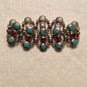 Jewelry - Genuine Turquoise Sterling & Red Heart Bracelet